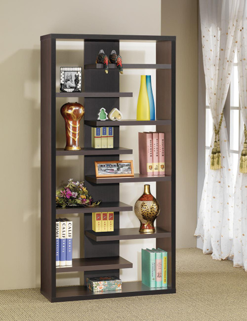 Coaster Home Office : Bookcases - Bookcase With Staggered Floating Shelves Cappuccino - 800265