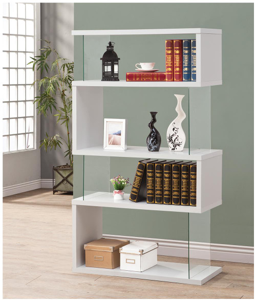 Coaster Home Office : Bookcases - 4-tier Bookcase White Glossy And Clear - 800300