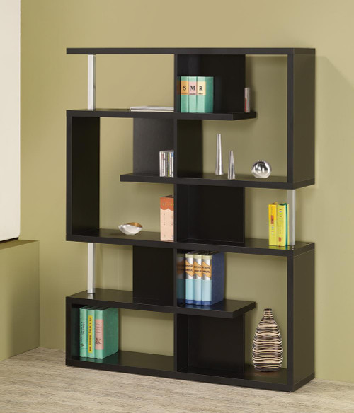 Coaster Home Office : Bookcases - 5-tier Bookcase Black And Chrome - 800309