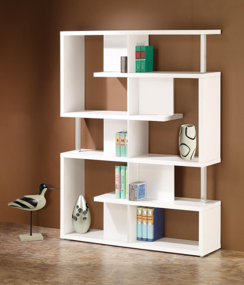 Coaster Home Office : Bookcases - 5-tier Bookcase White And Chrome - 800310