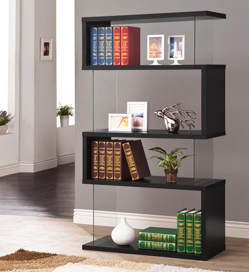 Coaster Home Office : Bookcases - 4-tier Bookcase Black And Clear - 800340