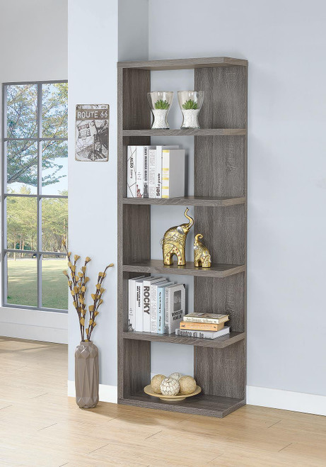 Coaster Home Office : Bookcases - 5-tier Bookcase Weathered Grey - 800553