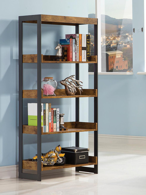 Coaster Estrella Collection - Estrella 4-shelf Bookcase Antique Nutmeg And Gunmetal - 800657