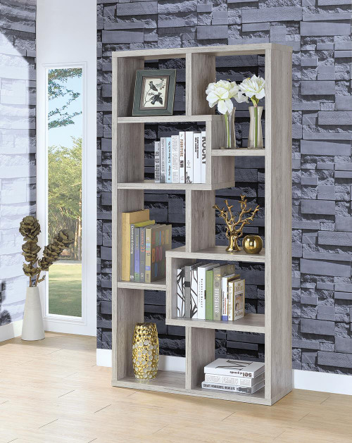 Coaster Home Office : Bookcases - 10-shelf Geometric Bookcase Grey Driftwood - 801137