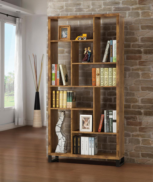 Coaster Home Office : Bookcases - 10-shelf Bookcase Antique Nutmeg - 801236