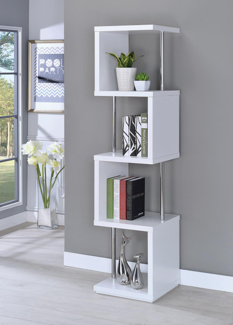 Coaster Home Office : Bookcases - 4-shelf Bookcase White And Chrome - 801418