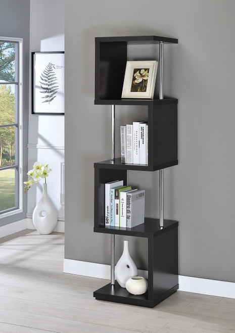 Coaster Home Office : Bookcases - 4-shelf Bookcase Black And Chrome - 801419