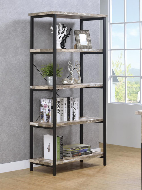 Coaster Kemper Collection - Skelton 4-shelf Bookcase Salvaged Cabin And Black - 801552