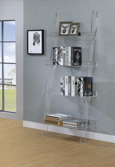 Coaster Amaturo Collection - Amaturo 4-shelf Ladder Bookcase Clear - 801553