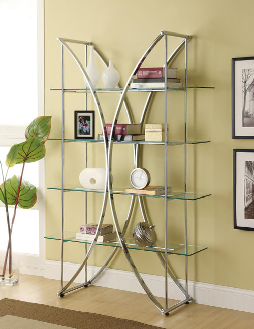 Coaster Home Office : Bookcases - 4-tier Bookcase Chrome And Clear - 910050