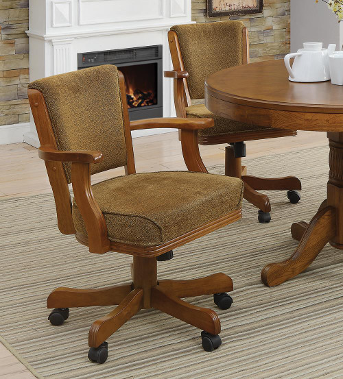 Coaster Mitchell Game Table - Olive Brown - Mitchell Upholstered Game Chair Olive-brown And Amber - 100952