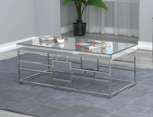 Coaster Geometric Frame Rectangular Coffee Table Chrome - 723078