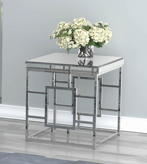 Coaster Geometric Frame Square End Table Chrome - 723077
