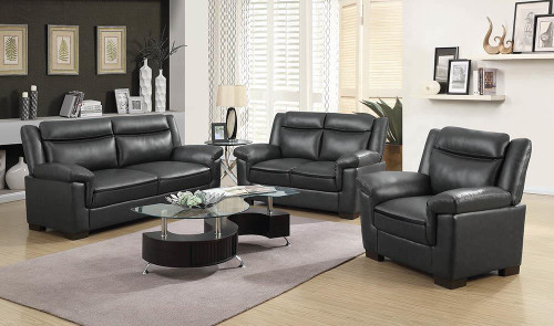 Coaster Arabella Brown Faux Leather Three-piece Living Room Set - 506591-S3