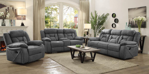 Coaster Higgins Motion Collection - Grey - Houston Casual Stone Reclining Three-piece Living Room Set - 602261-S3