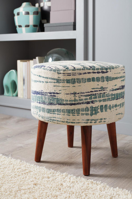 Coaster Accents : Ottomans - Blue White - Round Accent Stool Blue And White - 918493