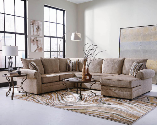 Coaster Fairhaven Collection - Fairhaven Rolled Arm Sectional Cream Herringbone - 501149
