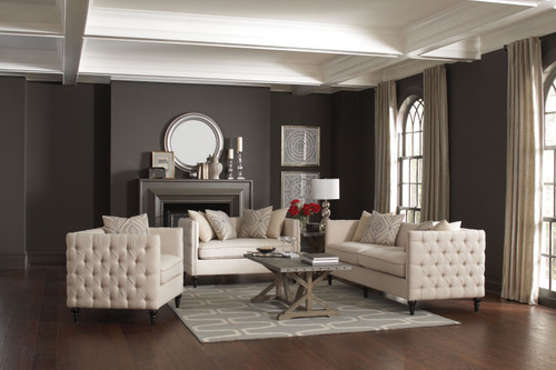 Coaster Claxton Traditional Oatmeal Tufted Two-piece Living Room Set - 504891-S2