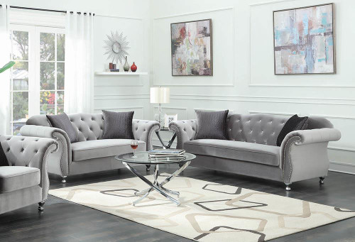 Coaster Frostine Grey Two-piece Living Room Set - 551161-S2