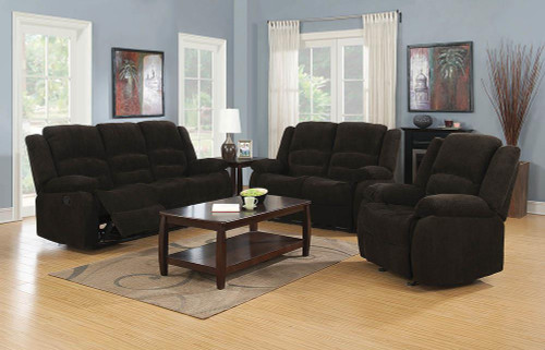 Coaster Gordon Motion Collection - Chocolate - Gordon Chocolate Reclining Three-piece Living Room Collection - 601461-S3