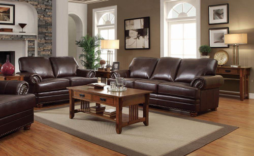 Coaster Colton Brown Leather Two-piece Living Room Set - 504411-S2