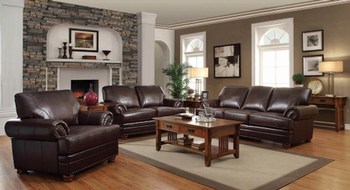 Coaster Colton Brown Leather Three-piece Living Room Set - 504411-S3
