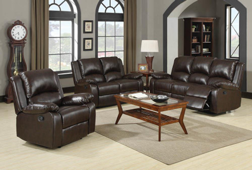 Coaster Boston Motion Collection - Two Tone Brown - Boston Brown Reclining Three-piece Living Room Set - 600971-S3