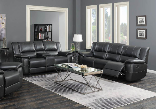 Coaster Lee Motion Collection - Black - Lee Transitional Black Leather Reclining Two-piece Living Room Set - 601061-S2