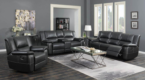 Coaster Lee Motion Collection - Black - Lee Transitional Black Leather Reclining Three-piece Living Room Set - 601061-S3