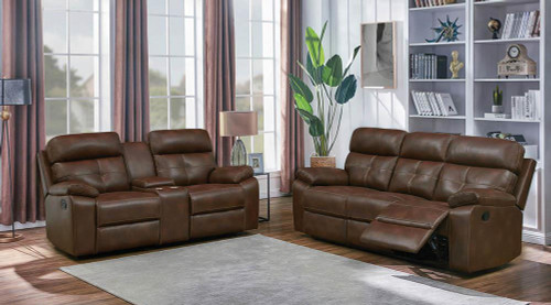 Coaster Damiano Motion Collection - Tri-tone Brown - Zimmerman Brown Faux Leather Two-piece Living Room Set - 601691-S2
