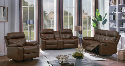 Coaster Damiano Motion Collection - Tri-tone Brown - Zimmerman Brown Faux Leather Three-piece Living Room Set - 601691-S3