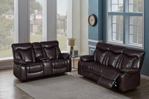 Coaster Zimmerman Motion Collection - Dark Brown - Zimmerman Dark Brown Faux Leather Two-piece Living Room Set - 601711-S2
