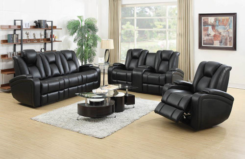 Coaster Delange Motion Collection - Black - Zimmerman Black Faux Leather Power Motion Three-piece Living Room Set - 601741P-S3