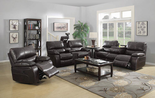 Coaster Willemse Motion Collection - Dark Brown - Willemse Chocolate Reclining Three-piece Living Room Set - 601931-S3