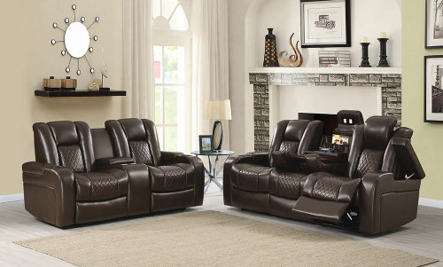 Coaster Delangelo Motion Collection - Brown - Delangelo Brown Power Motion Two-piece Living Room Set - 602304P-S2