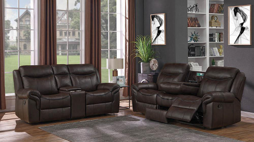 Coaster Sawyer Motion Collection - Cocoa - Sawyer Transitional Brown Two-piece Living Room Set - 602331-S2
