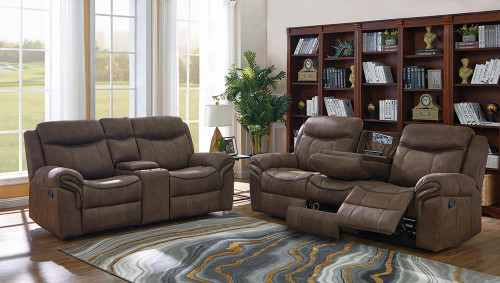 Coaster Sawyer Motion Collection - Macchiato - Sawyer Transitional Light Brown Two-piece Living Room Set - 602334-S2