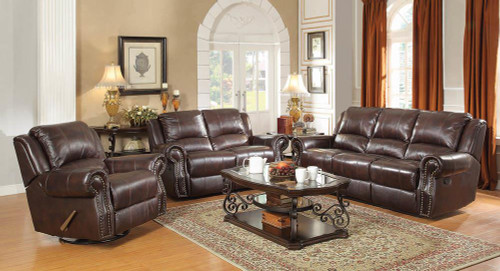 Coaster Sir Rawlinson Motion Collection - Dark Brown - Sir Rawlinson Burgundy Brown Motion Sofa, Loveseat And Recliner - 650161-S3