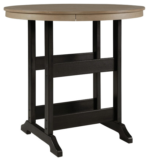 Ashley Fairen Trail Black/Driftwood Round Bar Table w/UMB OPT