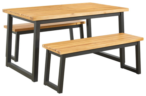 Ashley Town Wood Brown/Black Dining Table Set (3/CN)
