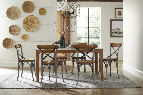 Coaster Barrett Marble Top Dining Table White And Natural (110611)