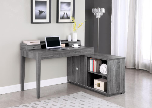 Coaster Jamara L-shape Office Desk With Power Outlet Weathered Grey (805751)