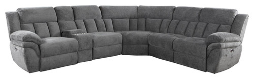 Coaster Charcoal - Bahrain 6-piece Upholstered Motion Sectional Charcoal (609540)