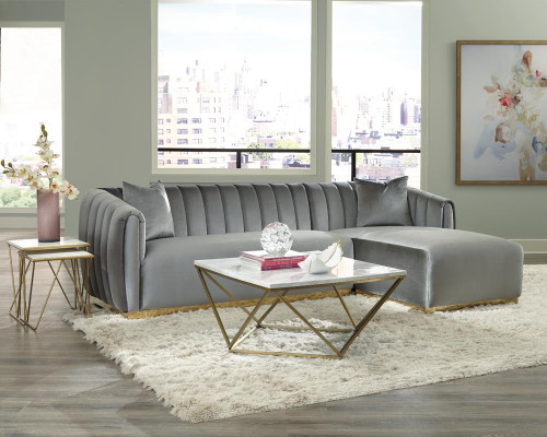 Coaster Silver - Grisby 2-piece Channeled Tufted Back Sectional Silver (509490)