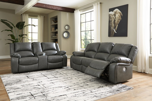 Ashley Calderwell Gray 2 Pc. Reclining Power Sofa, Double Reclining Power Loveseat with Console