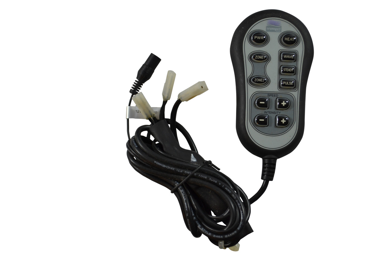 Raffel Systems Heat Massage Handset For Power Recliners and Lift Chairs. Features Two Zone Back and Seat Chair Heat Control. 3 Stage Massage Intensity with Wave, Steady, and Pulse Massage Functions. Massage Intensity Control and Massage Speed Control. Handset Uses many 2 Pin Clip Style Connectors and a single Round single Pin Style Connector. Part Number: HC-1220H.  Contact Customer Service For additional Info or Bulk Pricing