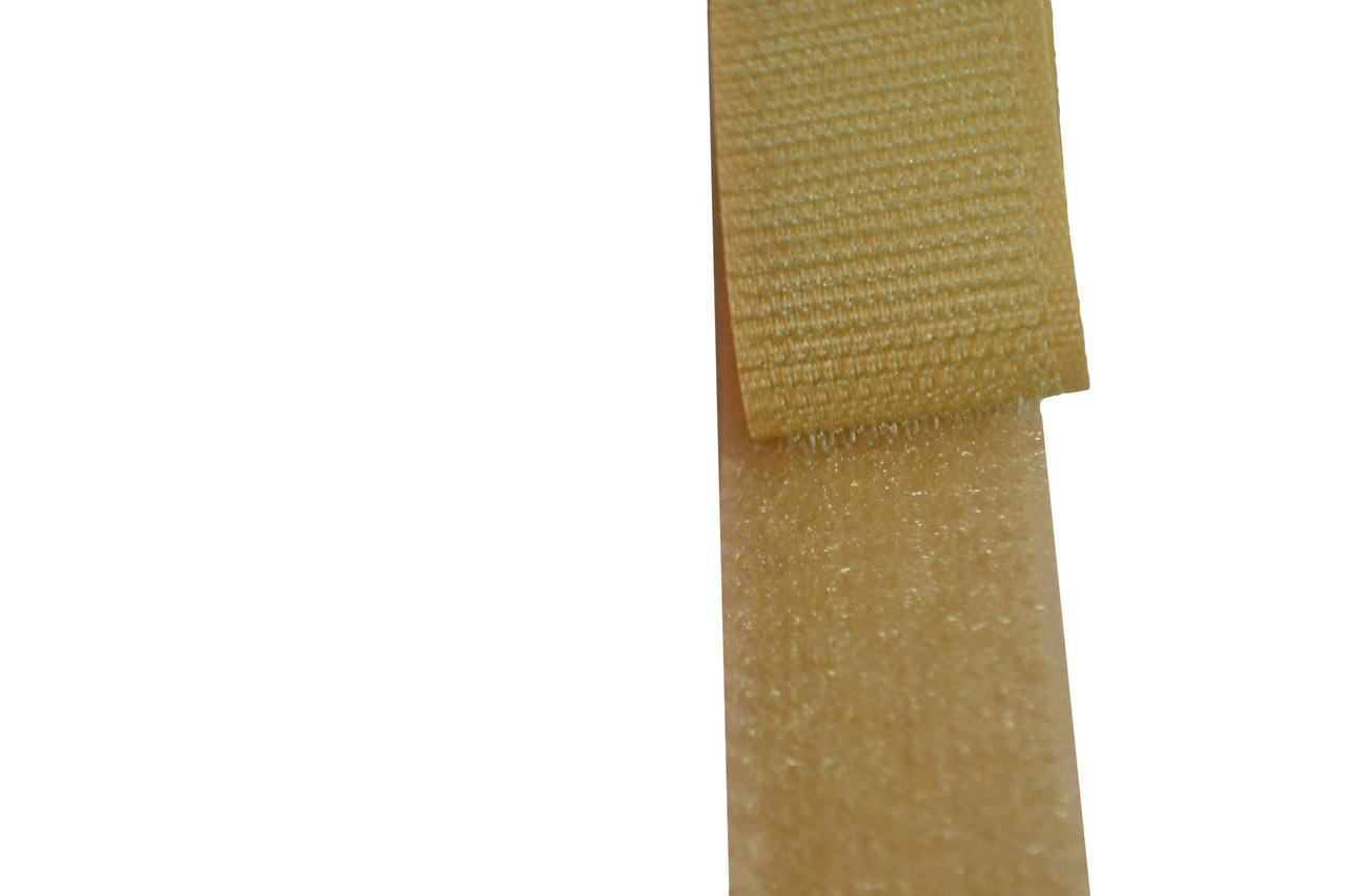 Sew On Hook and Loop For Fabric 1 Inch Wide Beige or Tan Color.  Includes 25 Yards of Both the Hook and Loop Material. Each is 1 Inch Wide and has Easy to Sew Style back. Designed For Upholstery However Has Many Applications. This is the Non Adhesive Style Hook and Loop Material. Very Strong Hold when Pushed Together. Material Is Flexible and can bend to Contours and Curves of Surface. Contact Customer Service For Additional Information and Bulk Pricing.