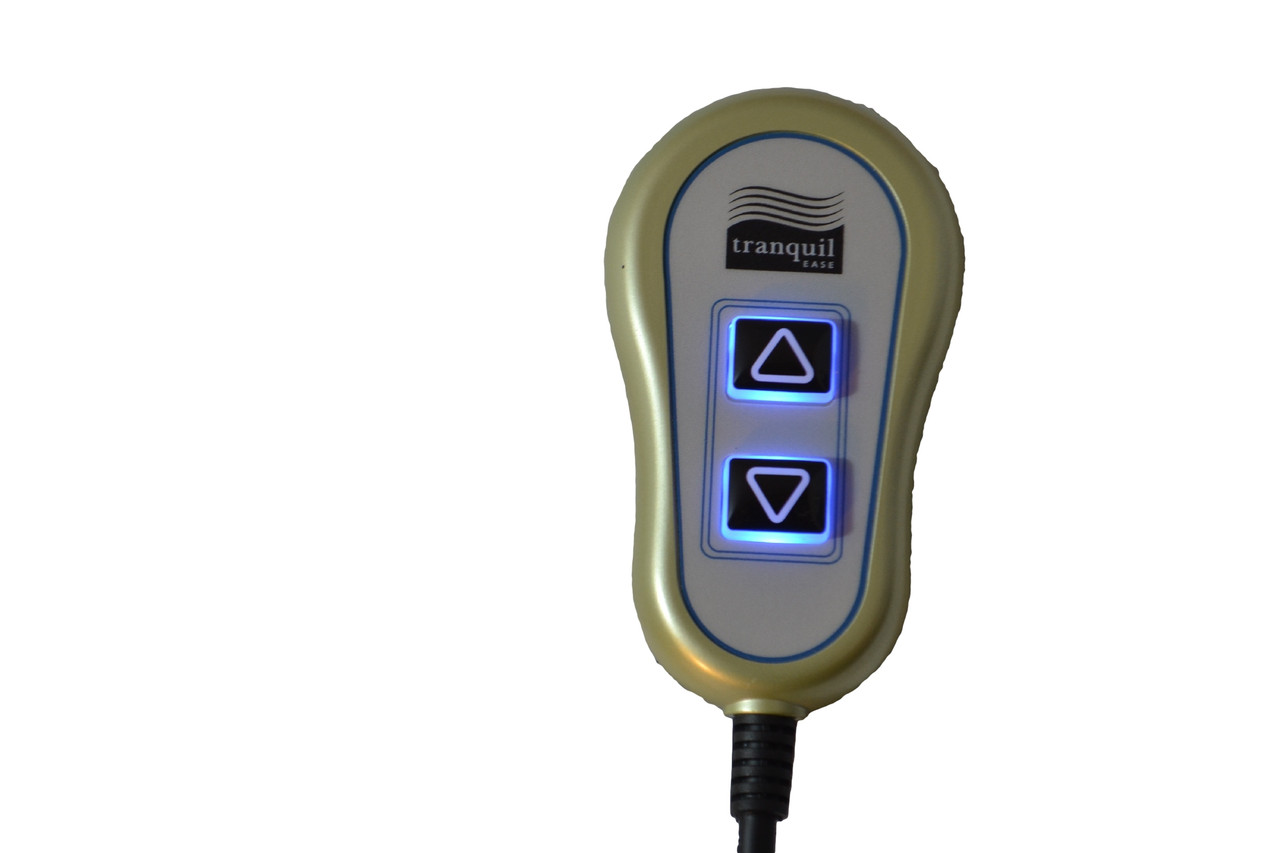 Tranquil ease 2 button handset with blue LED backlight and USB port for power recliners and lift chairs. This power recliner handset connects directly to the motor/actuator via 5 pin plug style connector. Hand control measures 5 inches tall x 2.5 inches. Part #:  HC UR1B 01