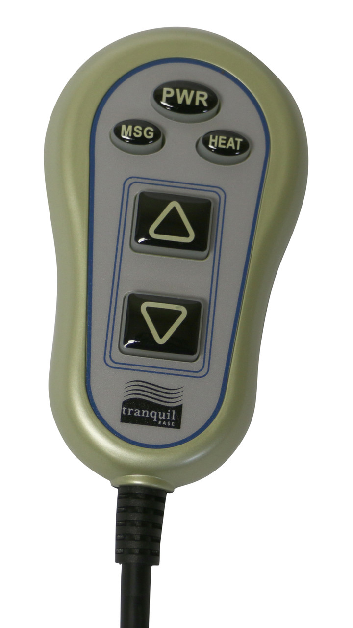 """Tranquil Ease recline, heat and massage handset with for power recliners and lift chairs. This power recliner handset connects directly to the motor/actuator via 5 pin plug style connector. It also features a blue LED backlight, heat and massage timer functions, two Molex motor connections, and an attached junction box. The hand control measures 4.25 inches tall x 2.5 inches wide at widest point and has a 48"""" length cord.  HC 6022 PR4 TE 48  Contact customer service for additional information and bulk pricing.  Part #:  HC-6022-PR4-TE-48"""