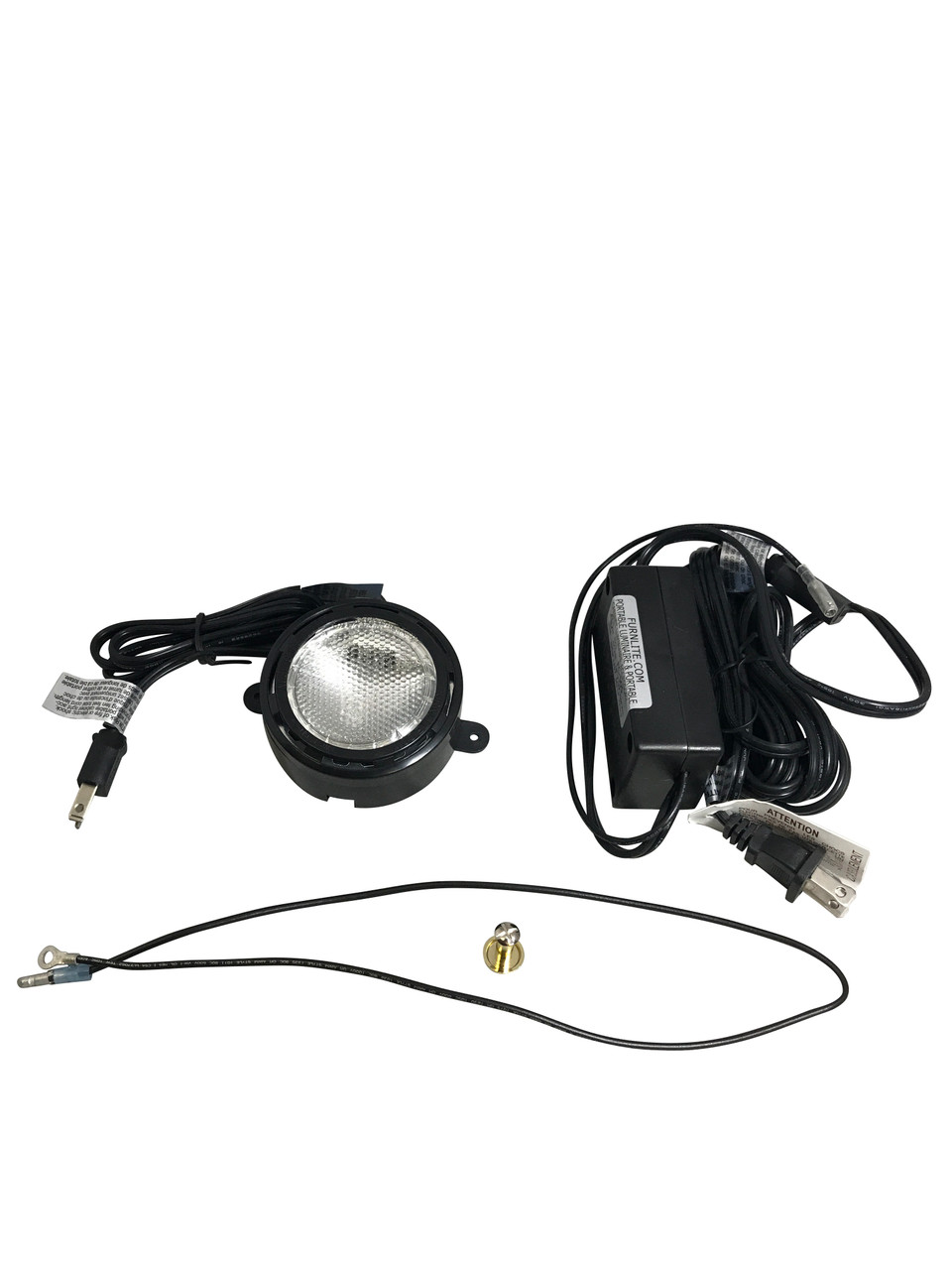 Puck light is a 120 volt light fixture with a 25 watt halogen bulb. It can be surface mounted or it can be installed in a cutout in the top panel of the cabinet. The diameter of the cutout is 3-3/8 inches. Kit includes Puck, Touch Lead, 3 stage Touch Dimmer, and Brass Touch Button. Perfect for use on Display Cabinets.  Furnlite FC-737 Black